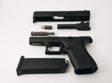 black semi automatic pistol with pistol