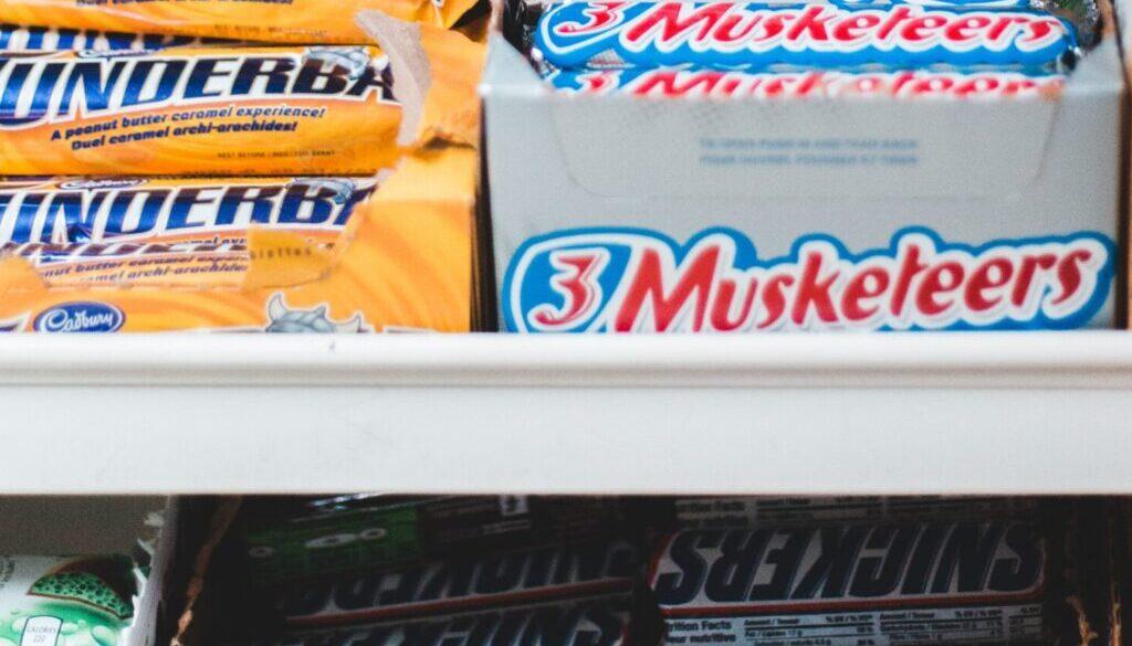 assorted chocolates in rack