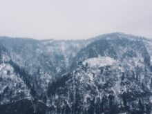 mountain covered by snow at winter