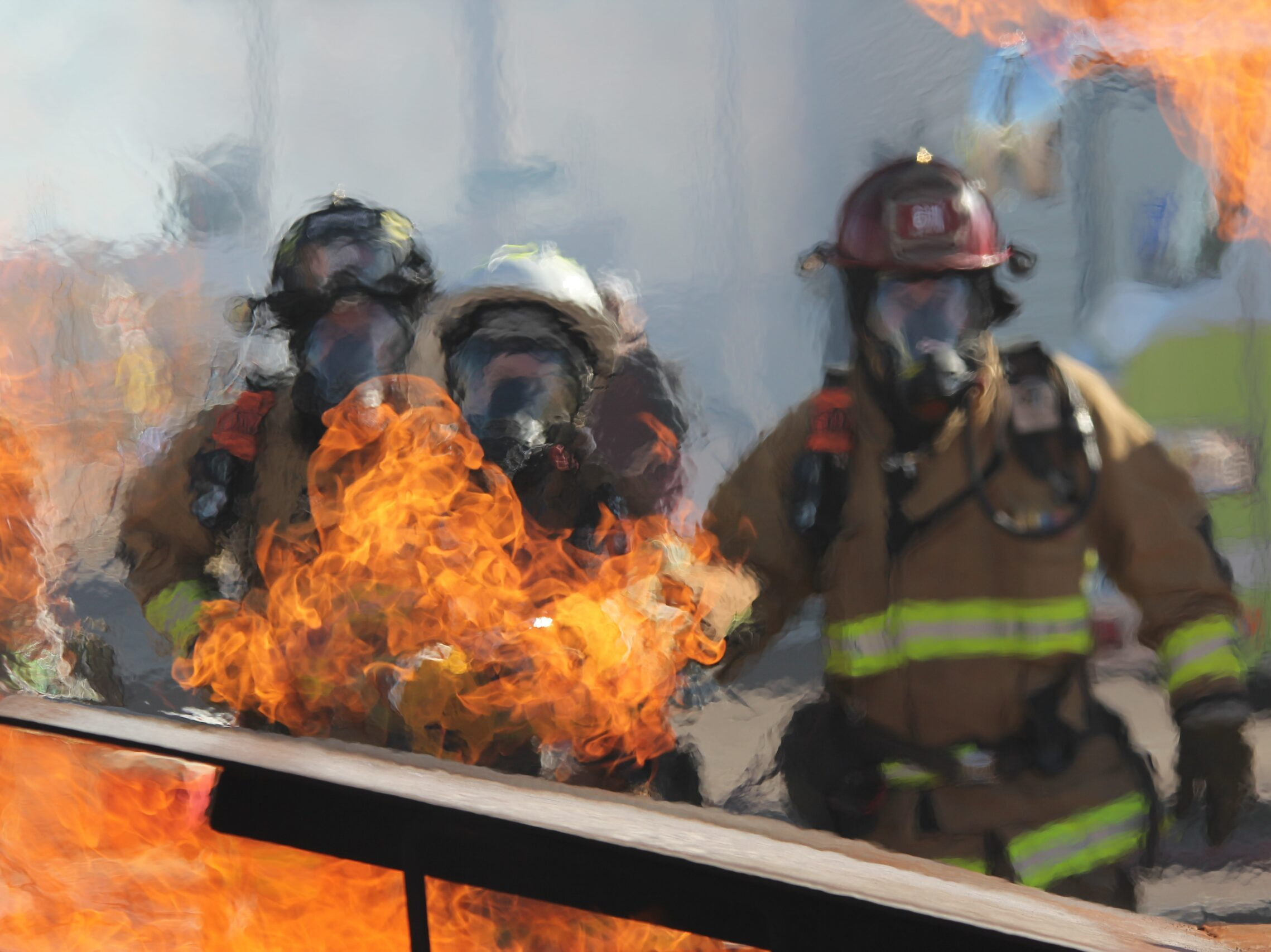 firefighters near fire